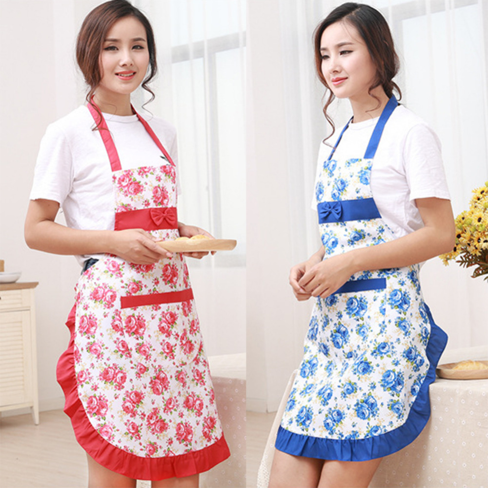New Printed Apron with pockets waterproof floral bib kitchen soil release aprons bowknot home textiles women bibs breech cloth(China (Mainland))