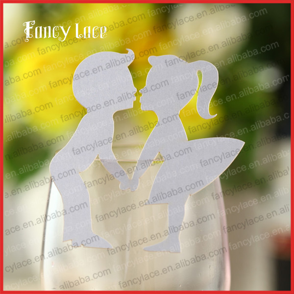 60PCS Hot Sale Lovers Shape Wedding Decoration Place Name Card, Novelty Customized Die Cut Paper Party Decor Wine Glass Card(China (Mainland))