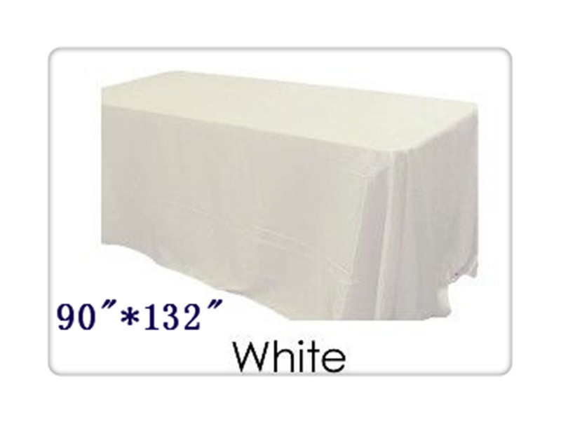 """Free shipping rectangle tablecloth size 90""""*132"""" color white for wedding decoration /satin table cloth(China (Mainland))"""