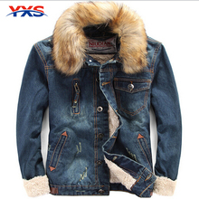 Free Shipping 2015 The New Men'S Thick Winter Fur Collar Denim Jacket Men'S Jacket Cultivating Wild Cowboy Street Cardigan W-25(China (Mainland))