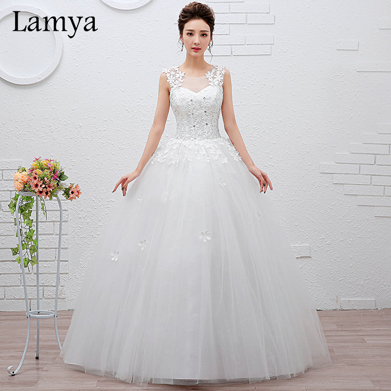 2016 Summer Cheap Princess Lace Up Wedding Dress Beautiful Bride Gowns WD2663(China (Mainland))