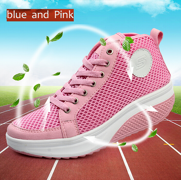 2015 Hot Sales,Women Sneakers mesh breathable Bodybuilding Shoes Platform Health Sports Shoes Lose Weight shoes Fitness shoes(China (Mainland))
