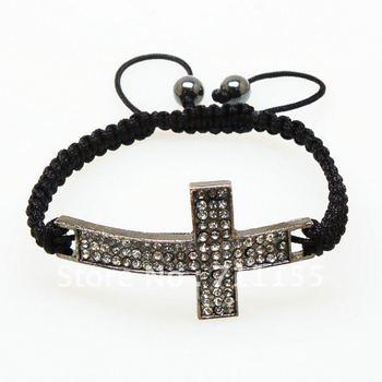 Hot Sale!!!Squre Shamballa Bracelet Cross,Rhinestone Gun Black Color,100% AAAAA Quility CZ Crystal,New Arrival Free Shipping