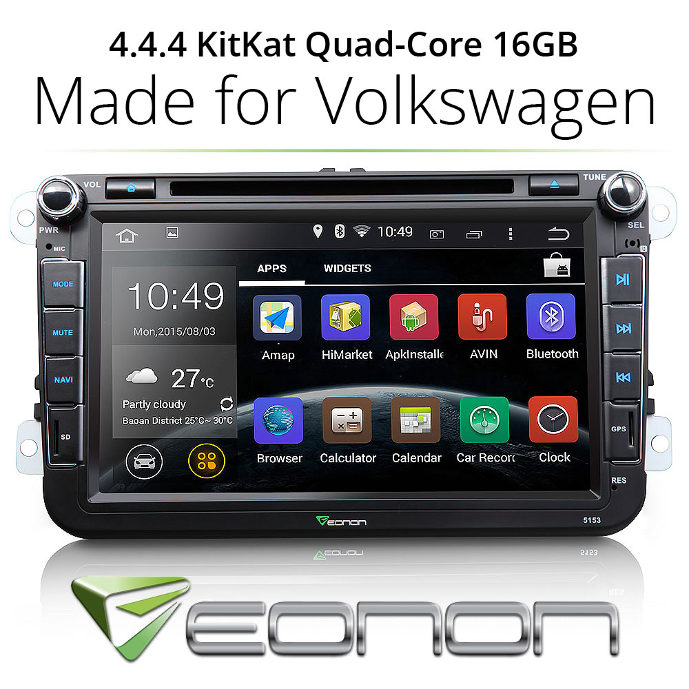 "GA5153F 8"" Car DVD Player GPS Navigation l Pure Android 4.4 OS WIFI OBD2 APP HD Bluetooth New Capacitive touch screen(China (Mainland))"