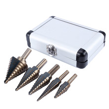 Domestic service 5PCS HSS Cobalt Multiple Hole 50 Sizes Step Drill Bit Set Tools w/ Aluminum Case(China (Mainland))