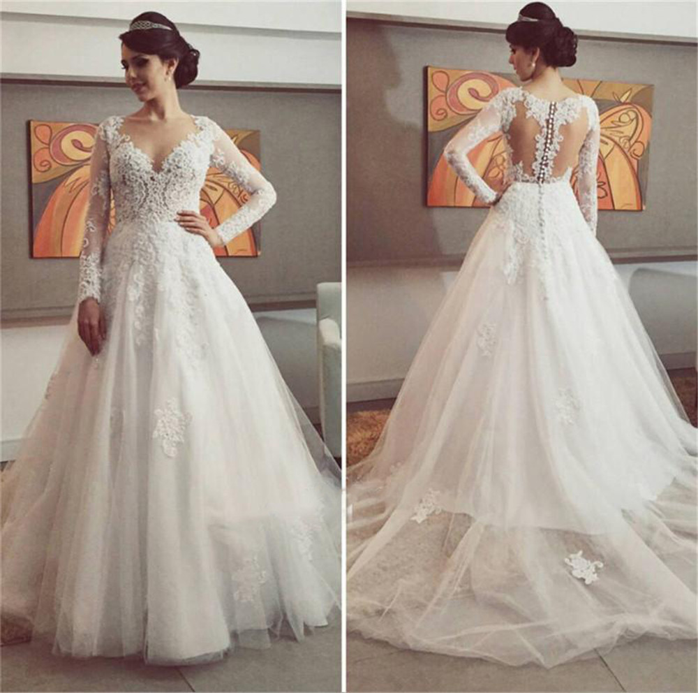 2016 saudi arabia wedding dress long sleeves a line bridal for Long sleeve dresses to wear to a wedding