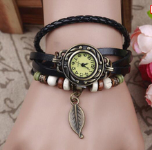 Women PU Leather Bracelet Watch Women Dress Watches leaf Pendant Vintage Quartz Analog Wrist Watch Bracelets(China (Mainland))