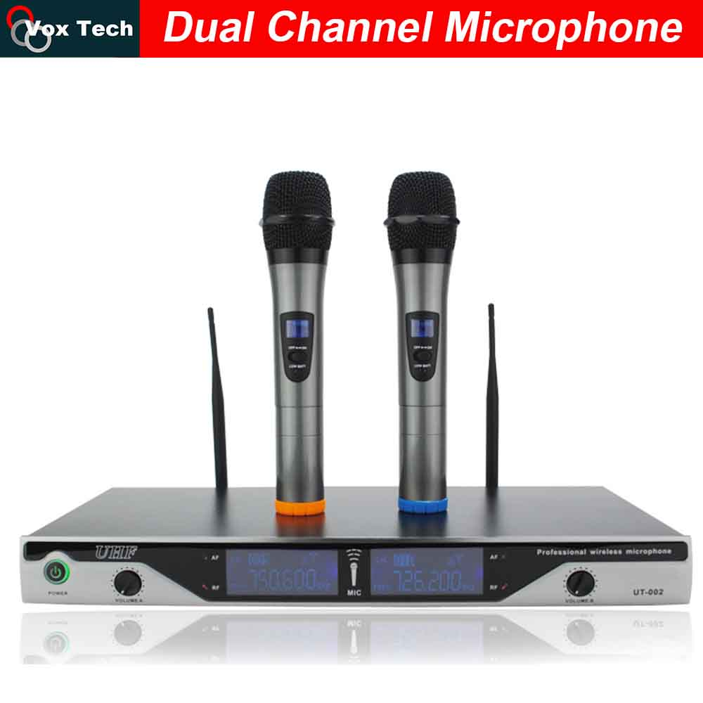Dual Channel / Antenna Wireless Microphone 1 Transmitter / 2 Handheld microfone, Home / Outdoor 80m  Meeting / karaoke System<br><br>Aliexpress