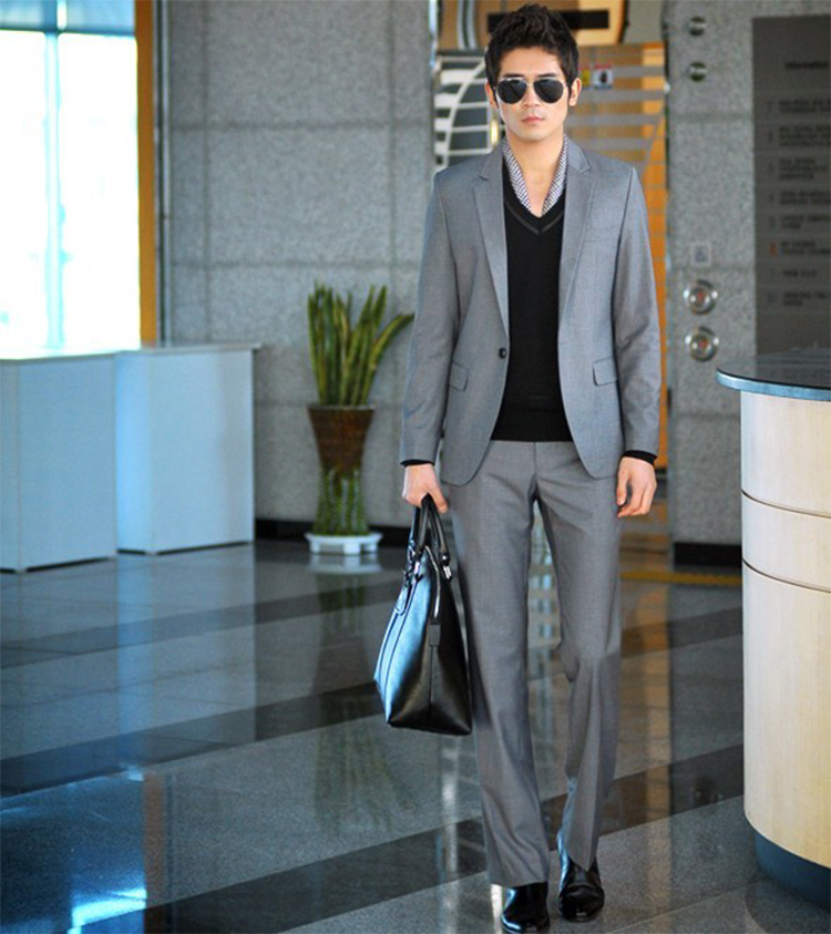 60-Free Shipping New 2015 man suit classic Fashion grooms man suits! Men's Blazer Business Slim Clothing Suit And Pants
