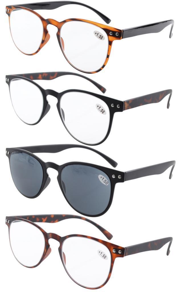 4 Pack Eyekepper Round Full Coverage Ultrathin Flex Frame Reading Glasses R060 0 5 0 75