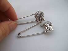 10x Silver Tone Strong Metal Kilt Scarf Brooch Safety Pin With Lucky Buddha Head 14*16mm