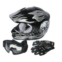 DOT Youth Kids ATV Motocross Dirt Bike Black Skull Helmet w / Goggles + Gloves S M L