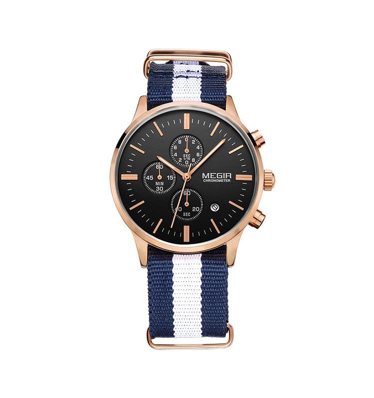 Relogio Masculino MEGIR мужские часы верхний марка роскошь мужчины нейлон ремешок часы хронограф функция кварцевый наручные часы
