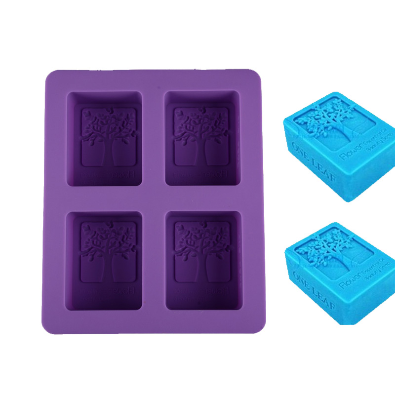 DIY Cold Soap Hand Mold Silicone Soap Mould Rectangular Happy Tree Ice Mold Four-hole Soap Mold Cake Tools Crafts Candle Maker(China (Mainland))