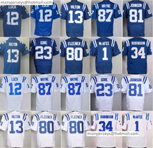 Men 12 Andrew Luck Jersey 23 Frank Gore 81 Andre Johnson Jerseys 87 1 Pat McAfee 13 T.Y. Hilton 34 Josh Robinson 80 Coby Fleener(China (Mainland))