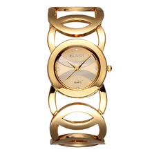 Unique Hollow Design oro rosa cuarzo mira los relojes 2015 para mujer de moda Barcelet vestido reloj garantía de calidad