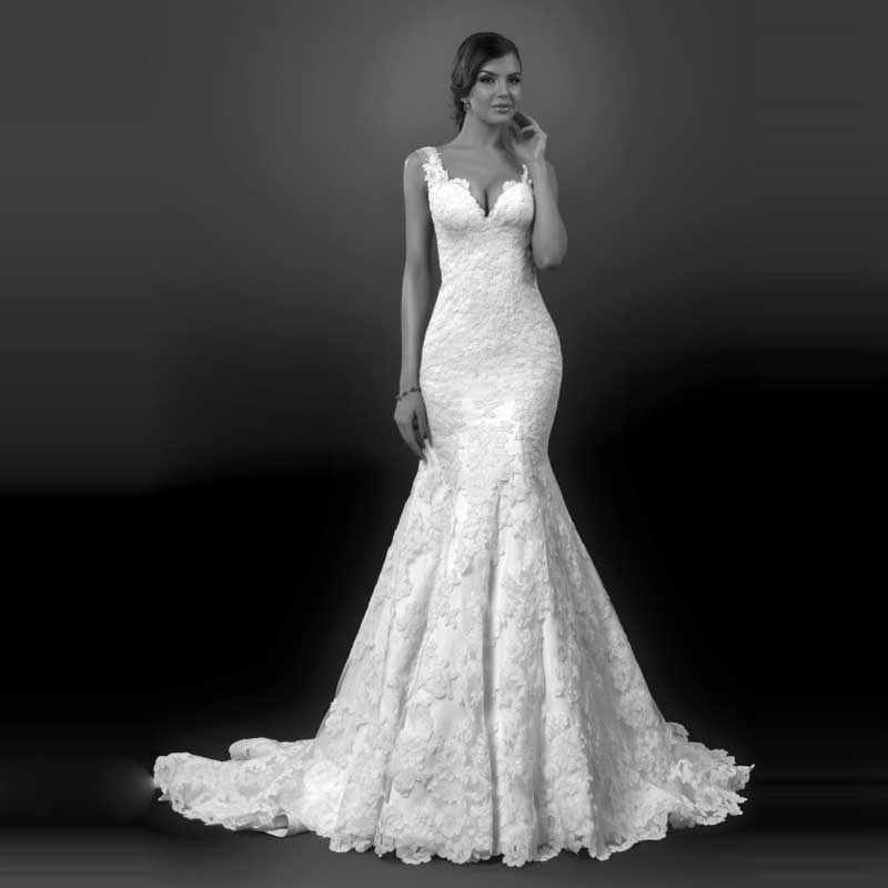 Lace Wedding Dress With Cap Sleeves Style D1919 : New style bride gown vintage lace mermaid long wedding dress cap