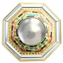 Chinese Feng Shui Convex Bagua Mirror Wood Gold Foil Metallic Mirror Drive Out Evil Spirits Home Decor Metal Crafts 11cm x 1.5cm(China (Mainland))