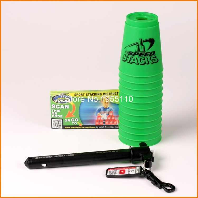 Free Shipping Green Cup Speed Flying Cup Stacking Cups Speedstacks W/ Handle