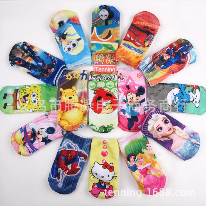 Free shipping 6 pair high quality cotton cartoon children socks boys girls kids socks 40 pattern can choose factory price(China (Mainland))