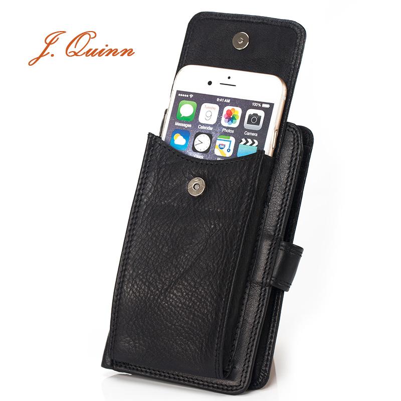 J.Quinn Sport Mobile Phone Wallet Men Purse Black Thin Hasp Mens Genuine Leather Wallets Travel Bifold Men's Wallet Business(China (Mainland))