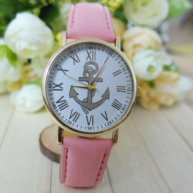 New Arrival 2015 Hot Sale Women's Fashion PU Leather Roman Numerals Anchor Analog Quartz Wrist Watch Free Shipping Wholesale(China (Mainland))