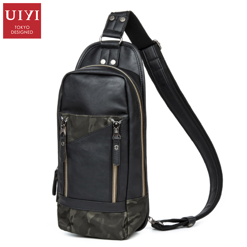 UIYI Camouflage Men Messenger Bag PU Leather Shoulder Bag For Men Outdoor Sports Bag Leather Chest Pack Crossbody Hangbags Black(China (Mainland))