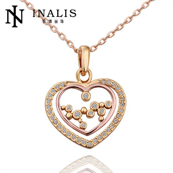 N576 New Band Women Necklace Heart 18K Gold Plated Austrian Crystal Pendant Necklace Jewlery Vintage Statement collar collier(China (Mainland))