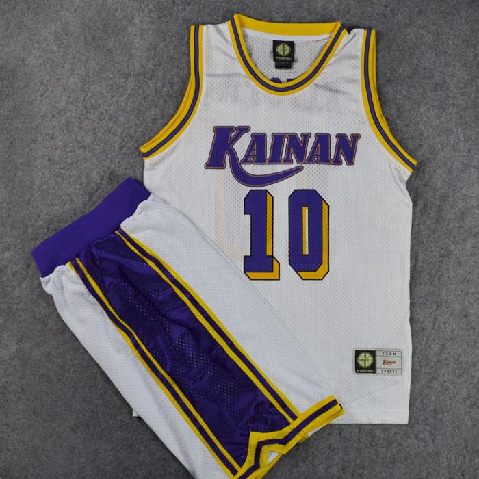 Slam Dunk Cosplay Costume KAINAN Small Forward No. 10 NOBUNGA KIYOTA Basketball Jersey + Shorts Suit Sports Wear Team Uniform(China (Mainland))