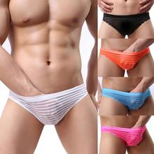 2016 New Arrivals Striped Lace Sexy Transparent Men's Briefs Mesh Breathable Men Underwear Briefs Sheer Elastic