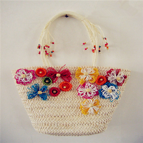 straw large capacity beach small fresh flower big women's woven handbag straw bag(China (Mainland))