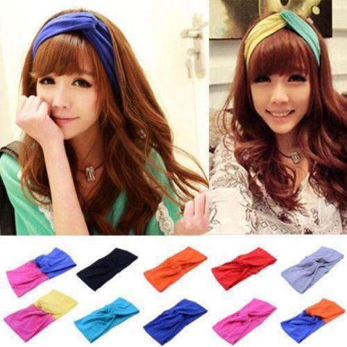 Free shipping Chic Women Cotton Turban Twist Knot Head Wrap Headband Twisted Knotted Hair Band Turban Twist Headband(China (Mainland))