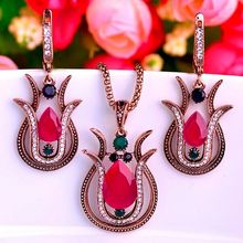 Supper Turkish Vintage Jewelry Sets Fine Women Resin Necklace Earring Accessories Set Brand Russian Design Red Jewelry sets Man