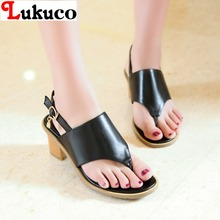 2016 New sale EUR SIZE 40 41 42 43 casual women open-toed design sandals genuine leather shoes - LUKU CO. Store store