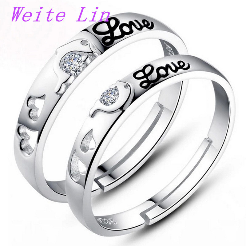 A pair 925 Sterling Silver Men Jewelry,Rings For Women,Engagement,Wedding Ring Couple Heart Crystal Lord Of The Rings J23(China (Mainland))