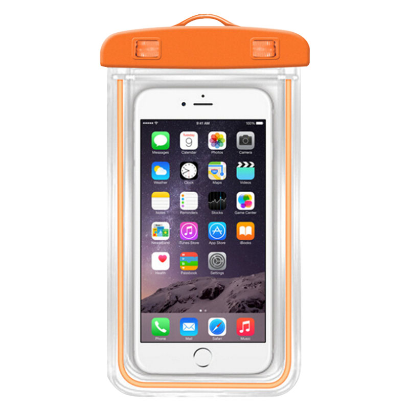2016 New Orange Water Proof Phone Pouch Outdoor Swimming Luminous Waterproof Underwater Bag Case Pouch For Iphone Free Shipping(China (Mainland))