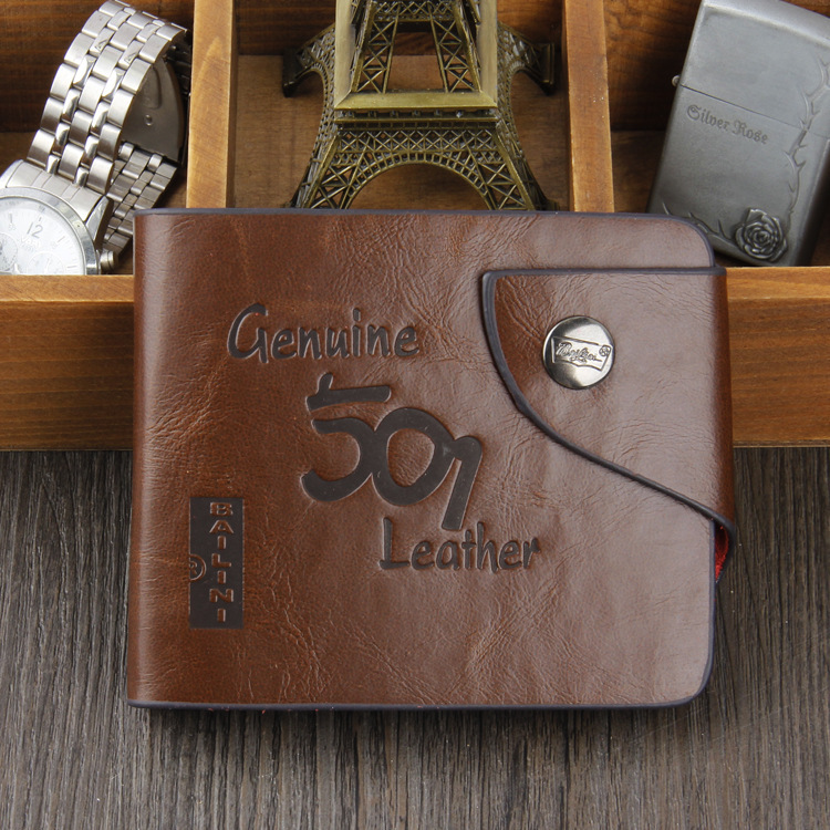 Hot 2015 Crazy Horse Leather Men Wallets Purse Bifold Brand Wallet Retro Design Style Purse For