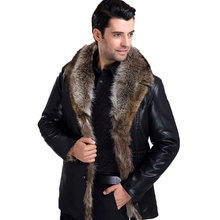 Free Shipping Men's  Leather Jacket Coat New Fashion 2016 Long Sleeve Fur  Collar Solid Outerwear(China (Mainland))