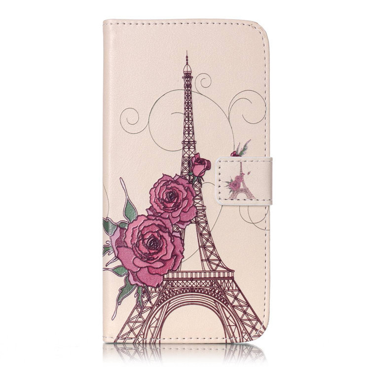 New Design Art Flower Series Embossed Pattern Iron Tower Leather Flip Stand Wallet Cover For iphone 7 plus Phone Case Coque B(China (Mainland))