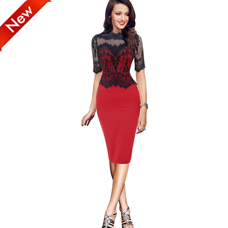 2016 New Fashion OL Elegant Office Dress o-neck Knee-Length summer Dresses black red patchwork solid European lace cotton elbiseОдежда и ак�е��уары<br><br><br>Aliexpress