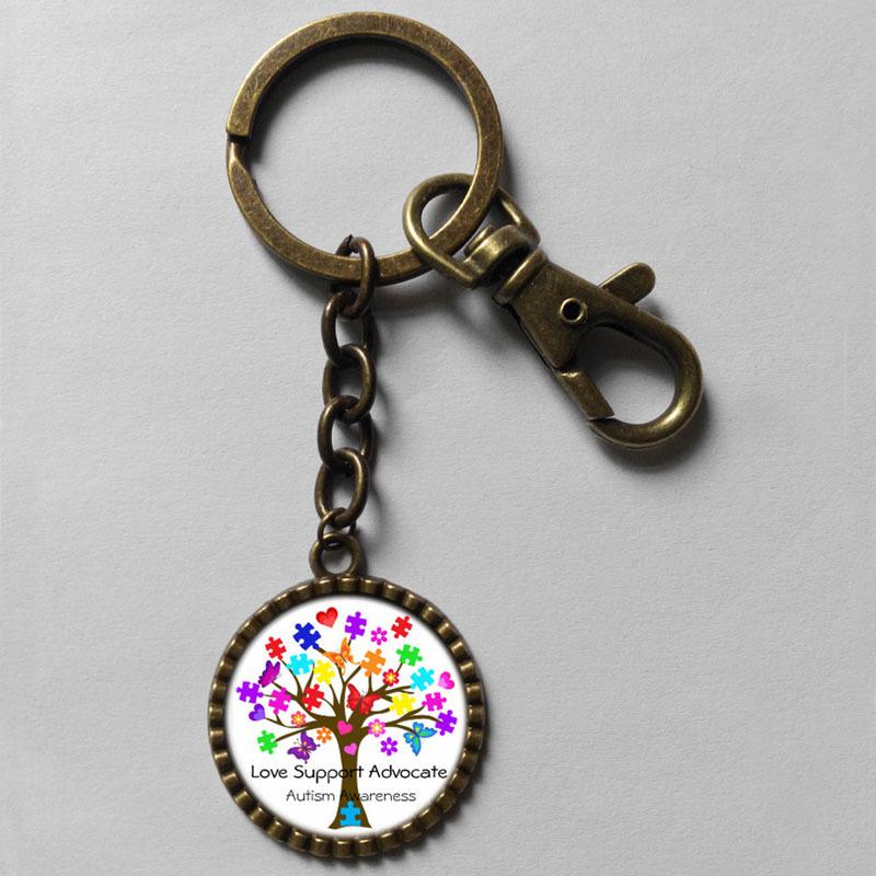 Wholesale 6$ Autism Awareness Puzzle Piece Heart Keyring Key Chain Art Glass Pendant cute Keychain Gfit Lot fashion(China (Mainland))