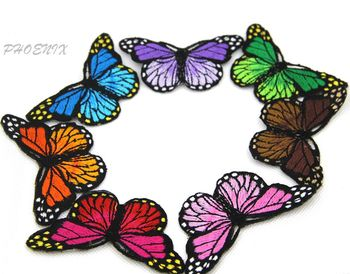 Blue Pink Red Purple Orange Green Butterfly iron on Patches para la ropa for clothing applique embroidery parches