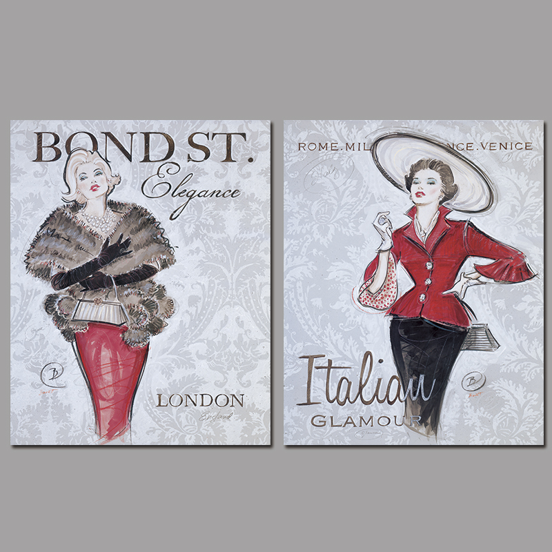 2pcs Modern red Fashion sexy lady decoration London Italian wall art picture Canvas Painting print for living room home unframed(China (Mainland))