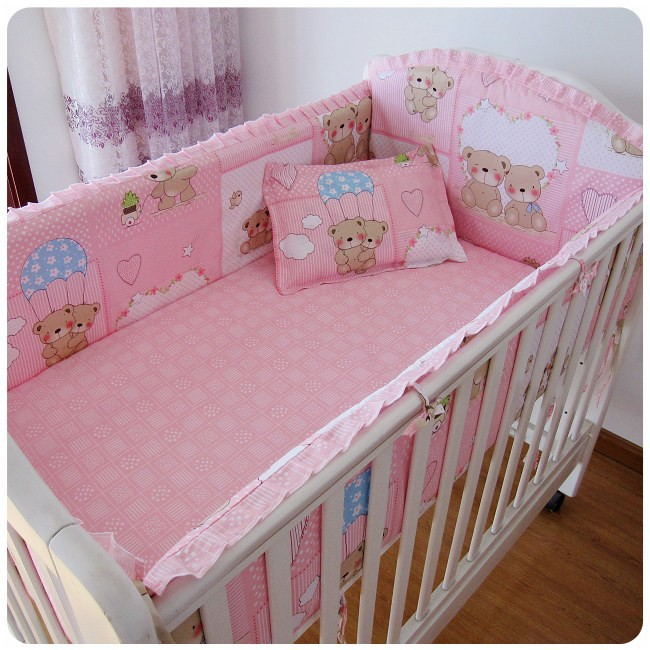 Promotion! 6PCS Pink Bear baby bedding set baby bed 100% cotton bedding baby bed around (bumpers+sheet+pillow cover)<br><br>Aliexpress