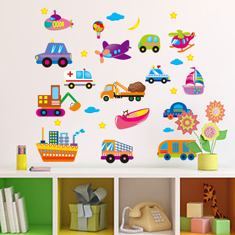 % Cartoon Trucks Tractors Cars Wall Stickers Kids Rooms Vehicles Wall Decals Art Poster Photo Wallpaper Home Decor Mural Decal(China (Mainland))