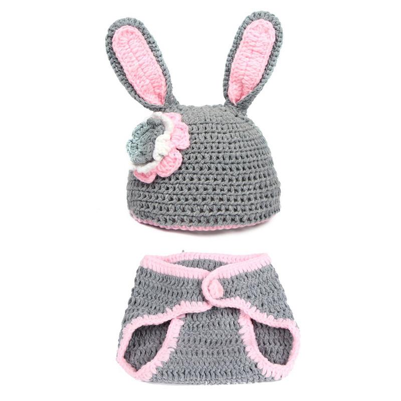 2015 New Fashion Baby Full Moon Photo Shoot Cartoon Gray Rabbit Model Handmade Hat And Underwear Two Sets(China (Mainland))