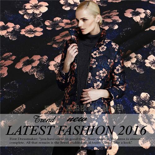 Winter 2015 big European style flower jacquard fabric / cloth coat dress suit wholesale(China (Mainland))