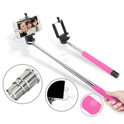 Extendable Wired drive-by-wire Self Selfie Stick portable Camera Monopod Tripod Holder For iphone samsung mobile cell phone(China (Mainland))