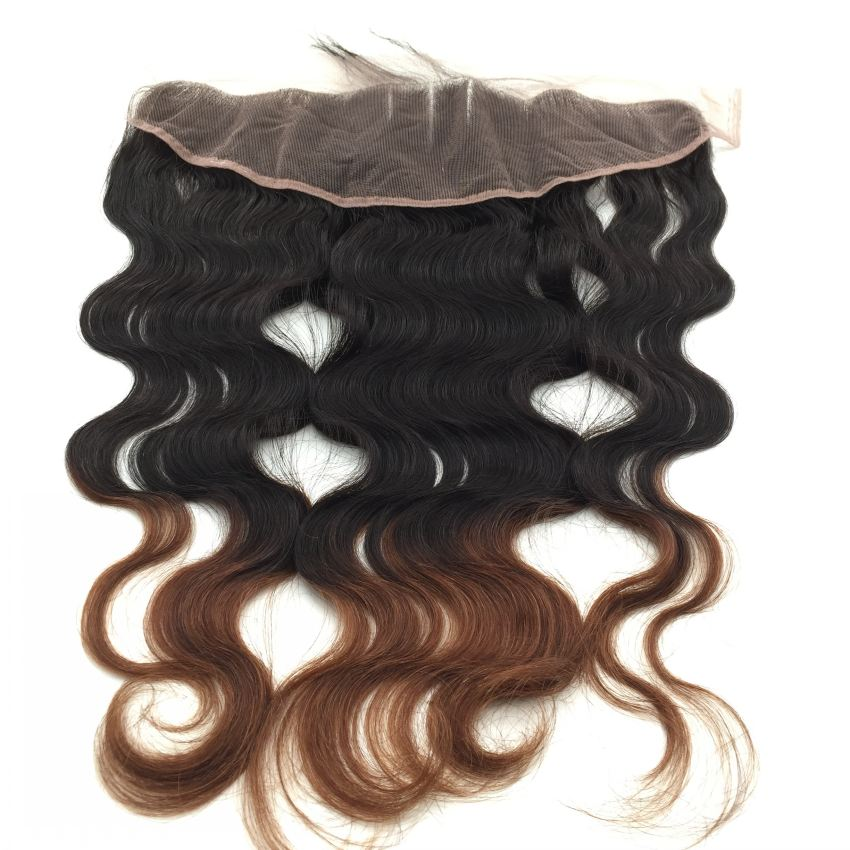 Unprocessed Brazilian hair 13*4 lace front closure, Cheap 7A body wave Wavy Ombre T1B/33 lace front closure<br><br>Aliexpress