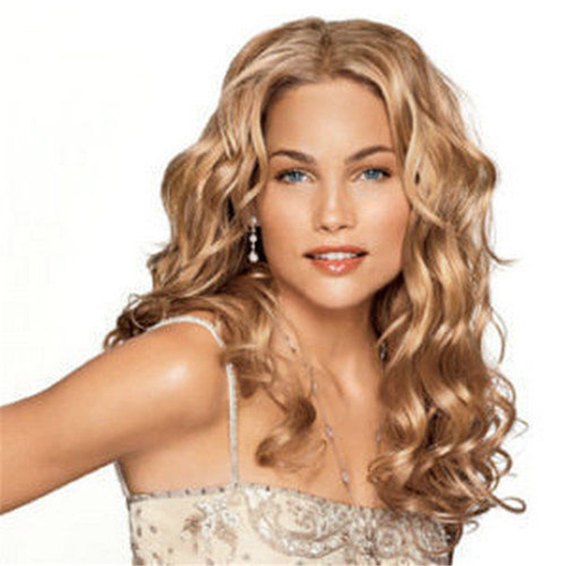 New Synthetic Long Blonde Wig Curly Hair For Women Fashion Free shipping<br><br>Aliexpress